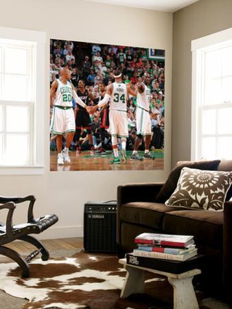Miami Heat v Boston Celtics - Game Four, Boston, MA - MAY 9: Ray Allen, Paul Pierce and Kevin Garne by Brian Babineau