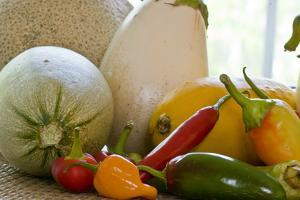 A Close-Up Display of Vegetables and Fruit by Brian Gordon Green