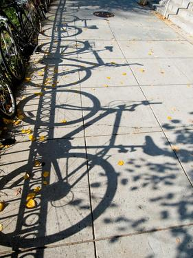 Shadows of Bicycles Cast on a Side Walk by Brian Gordon Green