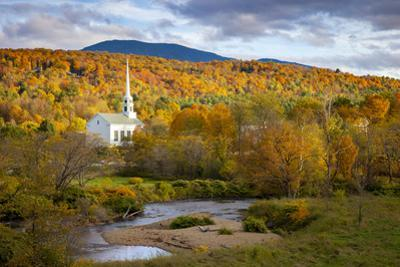 Autumn view of the Community Church in Stowe, Vermont, USA by Brian Jannsen