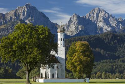Bavarian Alps over the Pilgrim's Church, St. Coloman, Schwangau, Bavaria, Germany by Brian Jannsen