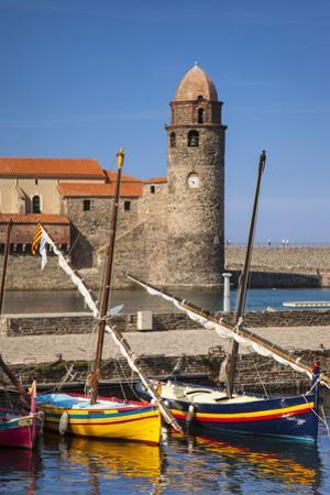 Boats, Eglise Notre Dame Des Anges Church, Collioure, Languedoc-Roussillon, France by Brian Jannsen