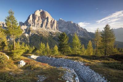 Dawn over Tofana de Rozes from Cinque Torri, Dolomite Mountains, Veneto, Italy by Brian Jannsen