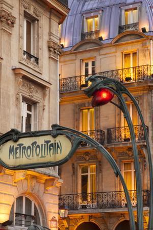 Evening at the Metro Stop Saint Michel in the Latin Quarter, Paris, France