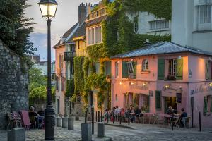 Evening Sunlight on La Maison Rose in Montmartre, Paris, France by Brian Jannsen