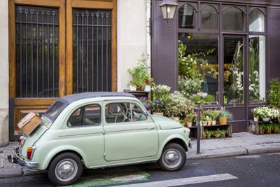 Fiat on the Sidewalk at the Florist Shop, les Marais, Paris, France by Brian Jannsen