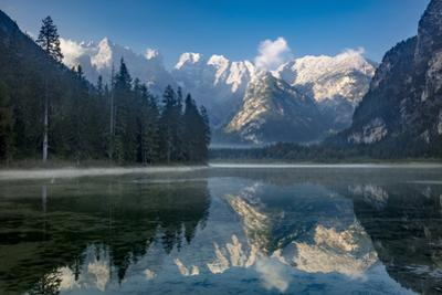 Monte Cristallo and the Dolomite Mountains reflected in Lago di Landro, Belluno Province, Italy by Brian Jannsen