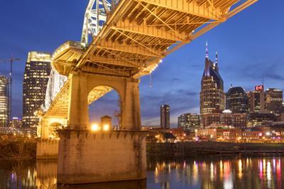 Twilight, John Seigenthaler Pedestrian Bridge over the Cumberland River, Nashville, Tennessee, USA by Brian Jannsen