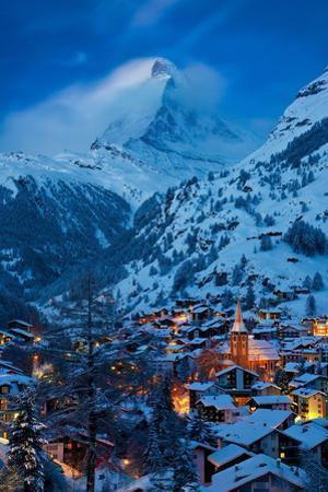 Twilight over the Matterhorn and village of Zermatt, Switzerland by Brian Jannsen