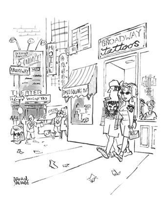 """A couple are coming out of Times Square-area """"Broadway tattoos"""" parlor wit? - New Yorker Cartoon"""