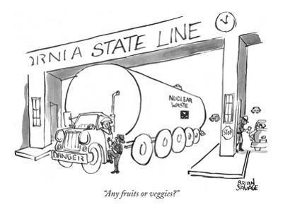 """Any fruits or veggies?"" - New Yorker Cartoon"