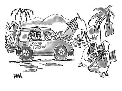 Lawyers travel through third world country in a jeep with the words LAWYER… - New Yorker Cartoon