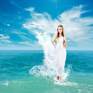 Ancient Greek Goddess In Sea Waves by brickrena