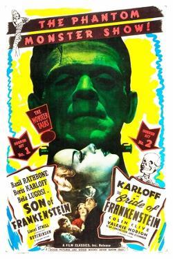 Bride of Frankenstein / Son of Frankenstein double feature poster featuring Boris Karloff