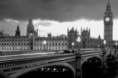 Bridge across a river, Westminster Bridge, Houses Of Parliament, Big Ben, London, England