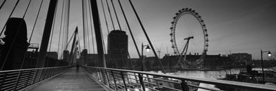 Bridge across a River with a Ferris Wheel in the Background, Golden Jubilee Bridge