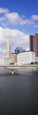 Bridge across the Scioto River with skyscrapers in the background, Columbus, Ohio, USA