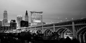 Bridge in a City Lit Up at Dusk, Detroit Avenue Bridge, Cleveland, Ohio, USA