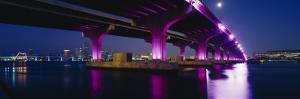 Bridge Lit Up Across a Bay, Macarthur Causeway, Biscayne Bay, Miami, Florida, USA