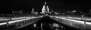 Bridge Lit Up at Night, London Millennium Footbridge, St. Paul's Cathedral, Thames River