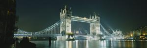 Bridge Lit Up at Night, Tower Bridge, London, England