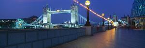Bridge Lit Up at Night, Tower Bridge, River Thames, London, England