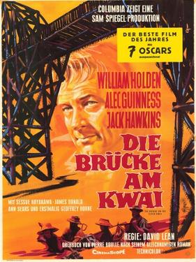 Bridge on the River Kwai, German Movie Poster, 1958