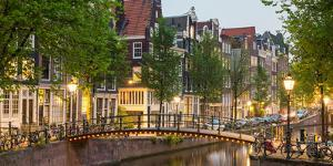 Bridge over Brouwersgracht in Western Grachtengordel Canal Ring at Dusk, Amsterdam