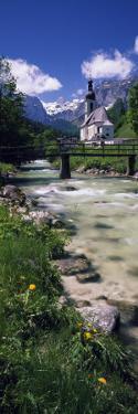 Bridge over Stream Below Country Church, Bavarian Alps, Germany
