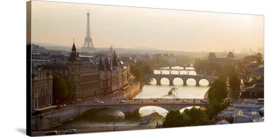 Bridges over the Seine river, Paris-Michel Setboun-Stretched Canvas Print