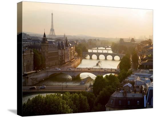 Bridges over the Seine river, Paris-Michel Setboun-Stretched Canvas