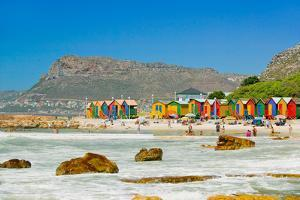 Bright Crayon-Colored Beach Huts at St James, False Bay on Indian Ocean, outside of Cape Town, S...