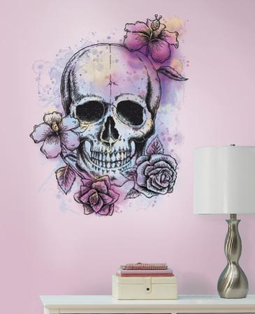 Bright Floral Skull Peel & Stick Gaint Wall Decal