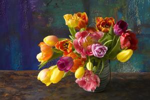 Coloured Tulip Bouquet in Handle Vessel by Brigitte Protzel