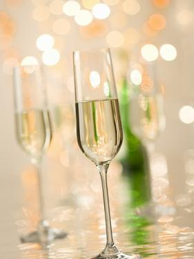 Glasses of Sparkling Wine with Twinkling Lights by Brigitte Protzel
