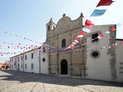 Italy, Sardinia, Pozzomaggiore, Chiesa Madonna Della Salute, Pendant Garlands