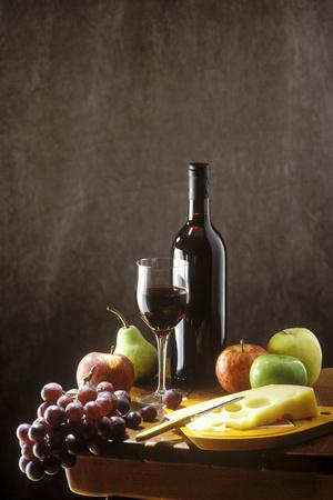 Still Life with Red Wine, Fruit and Cheese