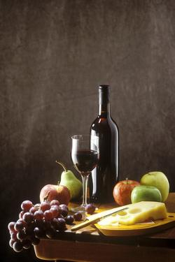 Still Life with Red Wine, Fruit and Cheese by Brigitte Protzel