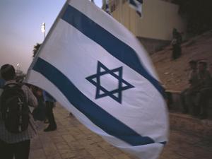 Israel, Jerusalem: Israeli Flag Being Waved at the Wailing Wall by Brimberg & Coulson