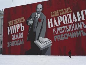 Man Passing by Giant Poster of Lenin, St. Petersburg, Soviet Union by Brimberg & Coulson