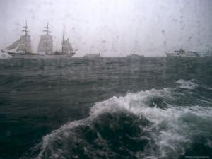 Tall Sailboat Sails in Baltic Sea on Rainy Day by Brimberg & Coulson