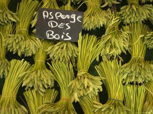 Wild Aspargus for Sale in Market, Paris, France by Brimberg & Coulson