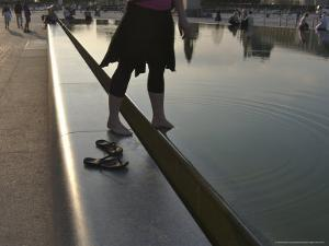 Young Woman Steps into the Reflecting Pool at the Louvre-Model Released, Paris, France by Brimberg & Coulson