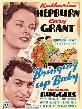 Bringing Up Baby, Katharine Hepburn, Cary Grant on window card, 1938