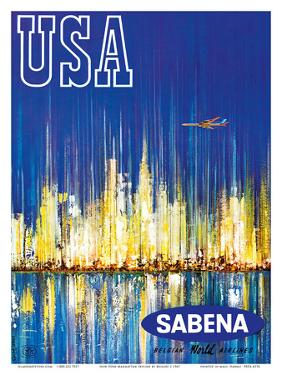 USA Sabena Belgian World Airlines - New York Manhattan Skyline by Brisart