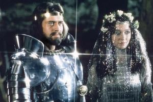 """British actors Nigel Terry as King Arthur and Robert Addie as Mordred in the, 1981 film """"Excalibur"""""""