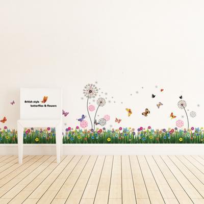 British Colourful Grass with Pink Dandelion Flower