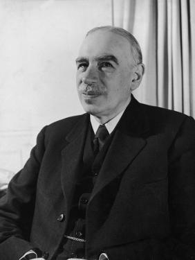 British Economist John Maynard Keynes Sitting in His Study at Home