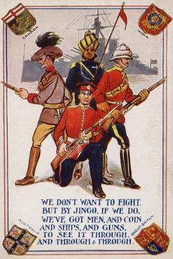 British Empire Soldiers in WW1 Propaganda Postcard