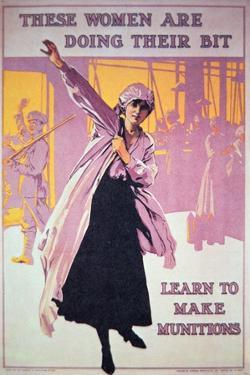 British Poster of Wwi to Encourage Women to Work in Munitions Factories, C.1914-18